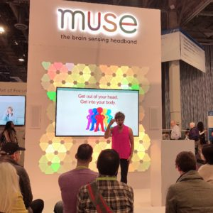 Cara Bradley presenting at the CES Conference for Muse Interaxon